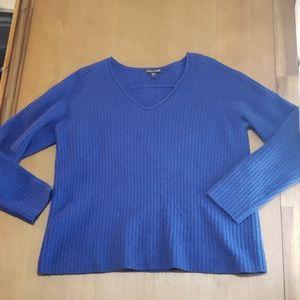 Eileen fisher blue wool/yak knit sweater size S